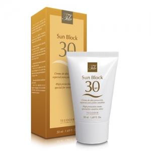 Envase Sun Block SPF 30, crema facial de protección solar