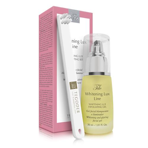 Envase y bote de Whitening Lux Exfoliating Set, tratamiento facial blanqueante